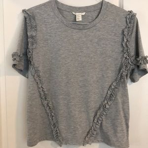 H&M (M) Gray T-shirt with ruffles